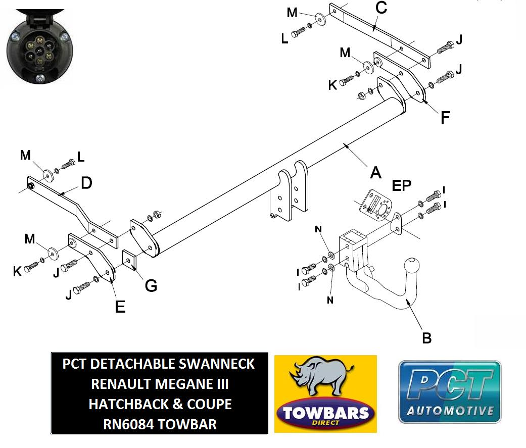Detachable Towbar For Renault Megane Iii 3  U0026 5 Door Coupe
