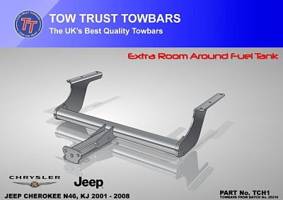 Jeep Cherokee towbar with extra clearance to pass fuel tank recall N46